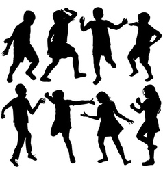 Set of active children silhouettes vector image vector image
