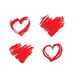 Set of hand drawn grunge red hearts vector image