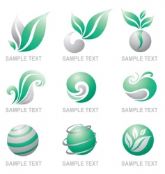 set of symbols of nature vector image