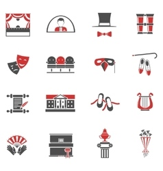 Theatre Red Black Icons Set vector image vector image
