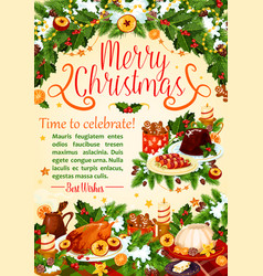 christmas turkey poster new year holiday design vector image vector image