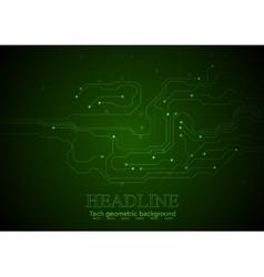 Dark green technology circuit board background vector image vector image