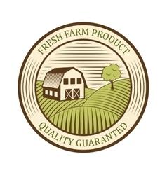 Flat farm logo label and design badge natural vector image