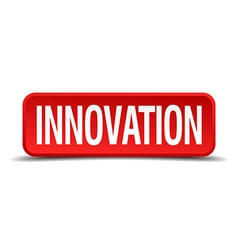 Innovation red 3d square button on white vector image