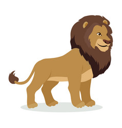 lion cartoon icon in flat style design vector image