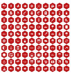100 marine environment icons hexagon red vector