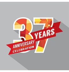 37th Years Anniversary Celebration Design vector image