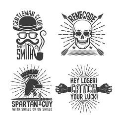4 retro hipster logo vector