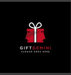 abstract gemini head gift box logo icon template vector image