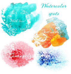Abstract set with watercolor spots vector