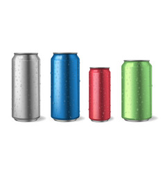 aluminium cans with water drops realistic metal vector image