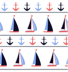 anchors and sailboats nautical pattern vector image