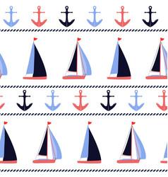 anchors and sailboats nautical pattern vector image