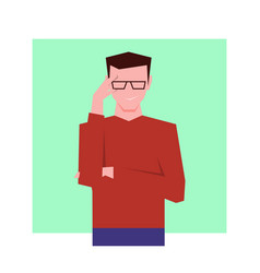 Arrogant businessman looking through glasses vector