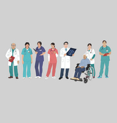 Asian medics chinese medical characters doctors vector