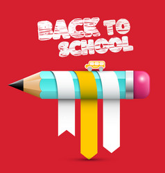 Back o school title with pencil on red background vector