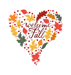 Background with brush phrase welcome fall and vector