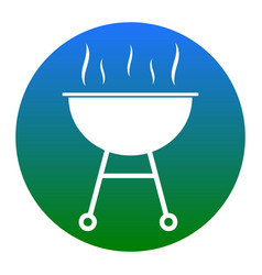 barbecue simple sign white icon in bluish vector image