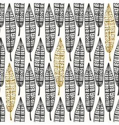 Black Gold Feathers Seamless Pattern vector image