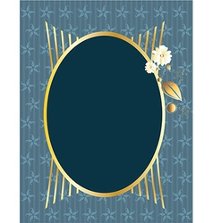Blue gold oval frame vector