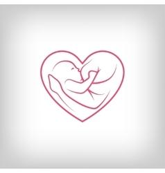 Breast feeding heart shaped sign vector