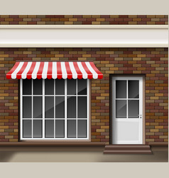 Brick small 3d store or boutique front facade vector