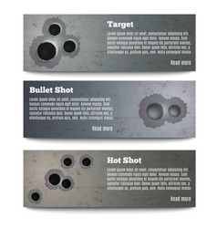 bullet hole banners collection vector image