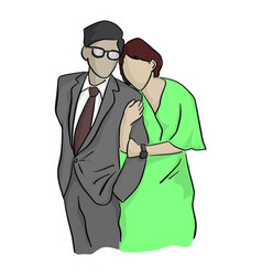 businessman and his wife sketch vector image