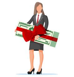 businesswoman holding holding dollar bundle vector image