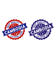 Cambodia best quality stamp with dust effect vector