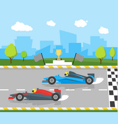 Cartoon car racing sport professional competition vector