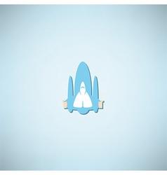 Cartoon doodle Hand in spacecraft icon vector