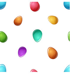 cartoon egg seamless pattern blue yellow red vector image