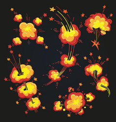 cartoon explosion cloud set vector image