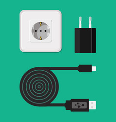 Charger cable wire for phone with micro usb vector
