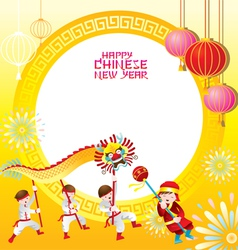 Chinese New Year Frame with Dragon Dancing vector image
