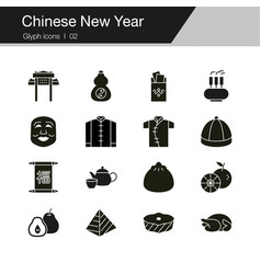 chinese new year icons design for presentation vector image