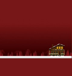 christmas card with house flat vector image