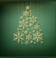 christmas shining fir tree made from gold vector image