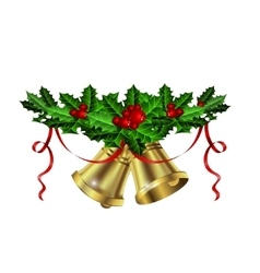 Christmas silver bells holly sprig and berries vector image
