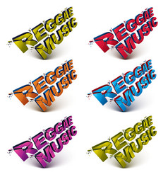 Collection of 3d reggae music word broken into vector