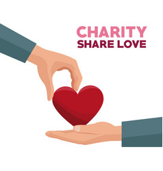 colorful hand giving a red heart charity share vector image