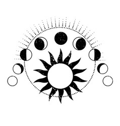 Composition different phases moon vector