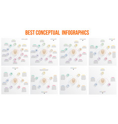 Conceptual infographic template with heads and vector