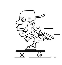 cool guy rides a skateboard vector image