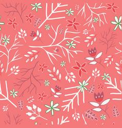 coral vintage florals seamless pattern vector image