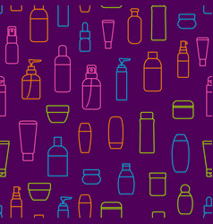 cosmetic bottles signs thin line seamless pattern vector image