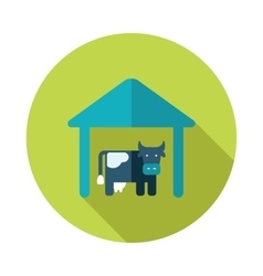 Cowshed flat icon with long shadow vector