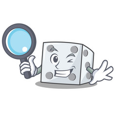 Detective dice character cartoon style vector
