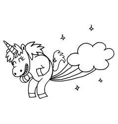 doodle style hand drawn unicorn isolated on vector image